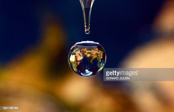 A picture taken on March 20 2013 in Marseille southern France shows a drop of water that reflected a map of the earth World Water Day is held...