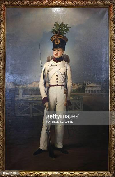 A picture taken on March 22 2013 shows the portrait of Napoleon II duc de Reichstadt painted by GermanAustrian artist Johann Peter Krafft in 1823...