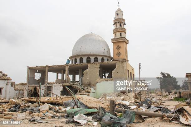 A picture taken on March 22 2017 shows a general view of destruction in the Syrian town of Suran in the countryside of the central province of Hama...