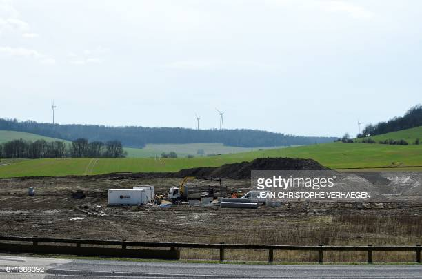 A picture taken on March 23 2017 shows the building site where the Chinese factory LED specialised on the production of light bulbs should have been...