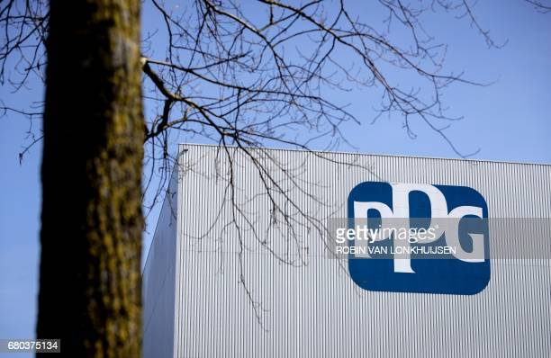 A picture taken on March 23 2017 shows the logo of US company and global supplier of paints coatings and materials PPG Industries at their branch in...