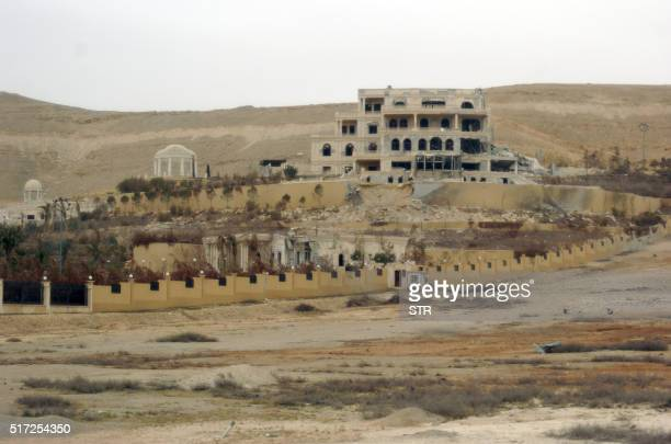 A picture taken on March 24 shows a mansion belonging to the Qatari royal family on the outskirts of the ancient city of Palmyra Backed by Russian...