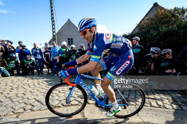 A picture taken on March 25 2016 shows Belgium's Antoine Demoitie of WantyGroupe Gobert competes during the 59th edition of the E3 Prijs Vlaanderen...