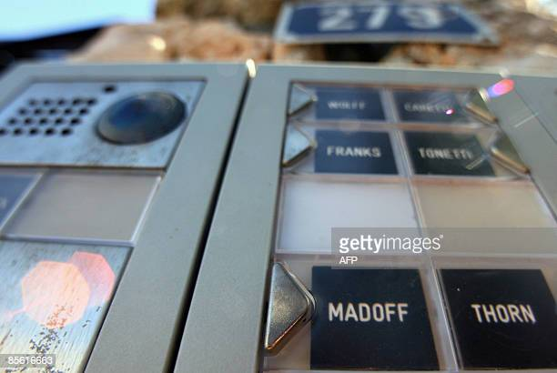Picture taken on March 26 2009 in Antibes south eastern France of the entryphone of a housing estate where a flat owned by Ruth Madoff the wife of...
