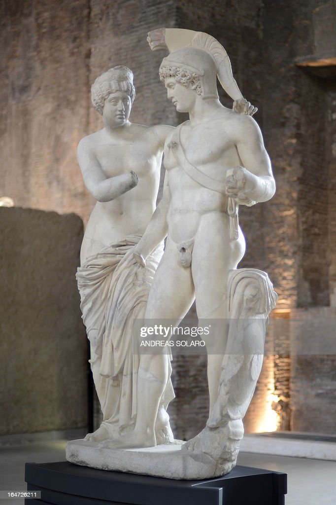 A picture taken on March 27, 2013 at the Museo nazionale delle Terme (Baths Museum) shows Roman statues of Mars and Venus (L). The controversial 'prostheses' of the two ancient statues of Mars and Venus which were added at the request of Silvio Berlusconi, exhibited at the Italian Government headquarters were removed, announced today Rome's newspaper 'Il Messaggero'. In 2010 Officials confirmed that a fake penis and hand had been added to Mars, the god of war and a fake hand had been added to Venus, the goddess of love after a consultation with Berlusconi's personal architect Mario Catalano.