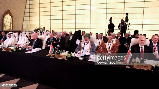 A picture taken on March 27 2017 shows the delegations of Palestine Oman and Iraq attending the preparatory meeting of Arab Foreign Ministers during...