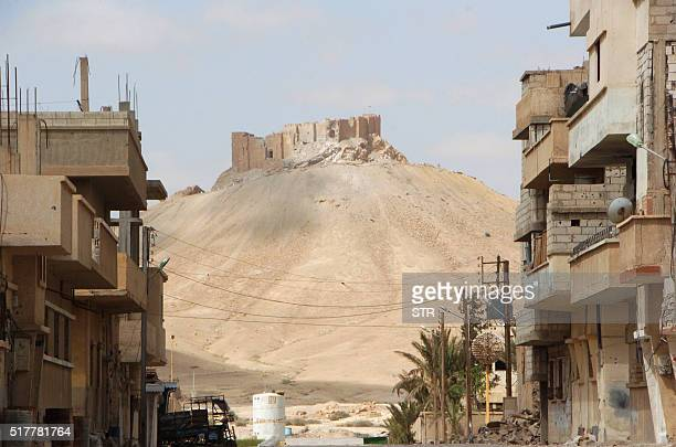 A picture taken on March 27 shows the citadel of the ancient city of Palmyra as seen from a residential neighbourhood of the modern town after Syrian...