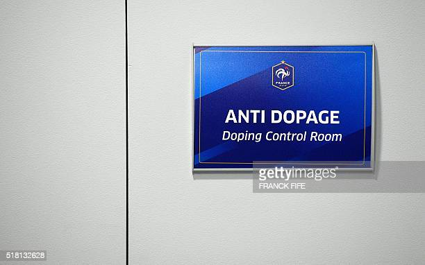 A picture taken on March 28 2016 shows a control doping room the Stade de France in SaintDenis north of Paris uilt for the World Cup 1998 Stade de...