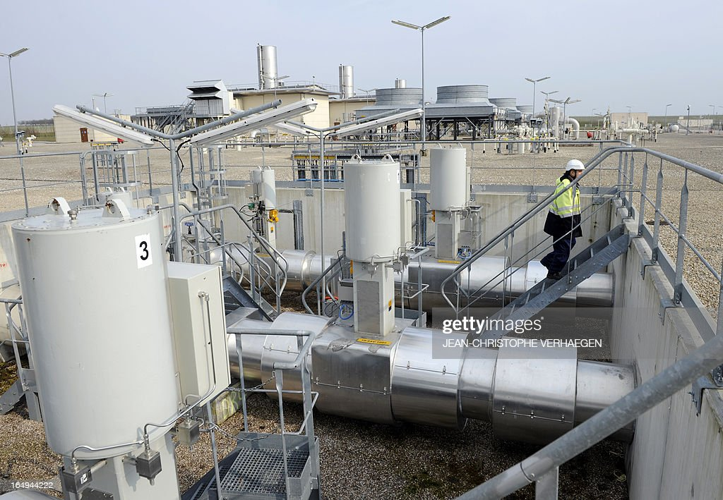 A picture taken on March 29, 2013 shows a GRTgaz compressor station, in Morelmaison,eastern France. A compressor station is a facility which helps the transportation process of natural gas from one location to another. Natural gas, while being transported through a gas pipeline, needs to be constantly pressurized in certain distance intervals (around 200km). GRTgaz owns and operates the longest high-pressure natural gas transmission network in Europe CHRISTOPHE VERHAEGEN