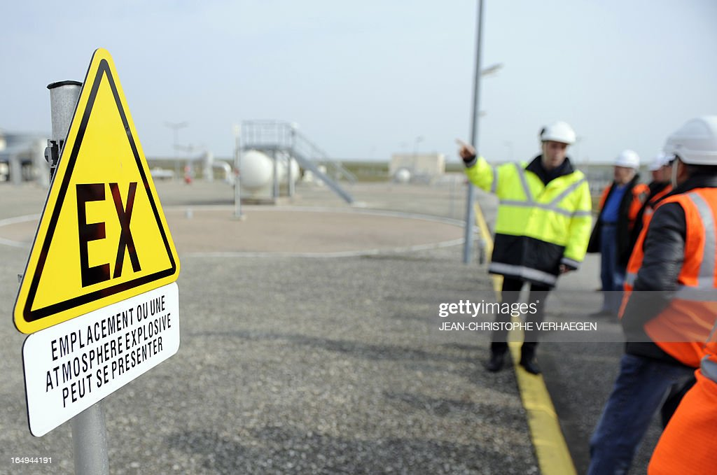 A picture taken on March 29, 2013 shows a sign indicating the possible presence of gas at a GRTgaz compressor station, in Morelmaison,eastern France. A compressor station is a facility which helps the transportation process of natural gas from one location to another. Natural gas, while being transported through a gas pipeline, needs to be constantly pressurized in certain distance intervals (around 200km). GRTgaz owns and operates the longest high-pressure natural gas transmission network in Europe CHRISTOPHE VERHAEGEN