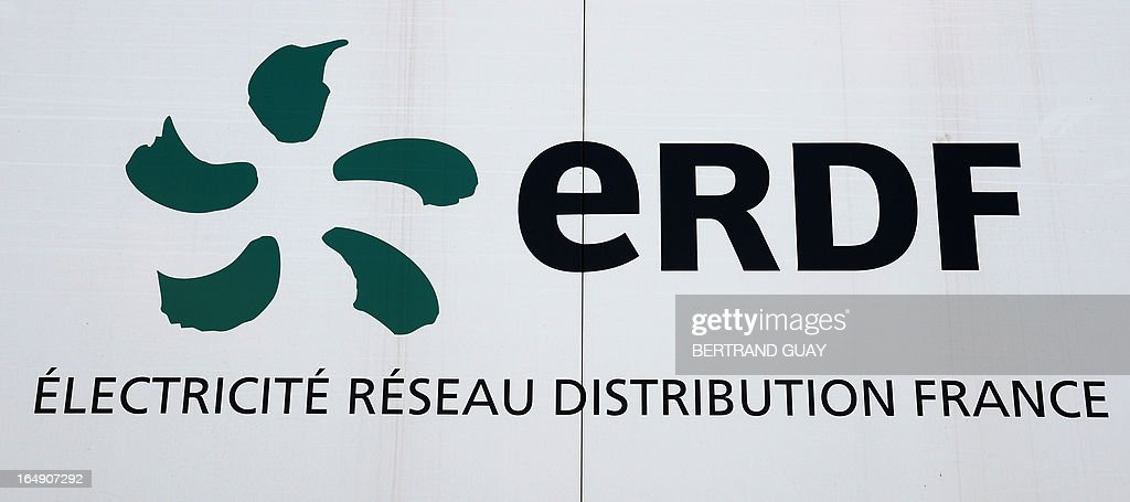 A picture taken on March 29, 2013 shows the logo of ERDF (Electricity Network Distribution France) at the site of ERDF in Saint-Ouen-l'Aumone, near Paris, on March 29, 2013. AFP PHOTO BERTRAND GUAY