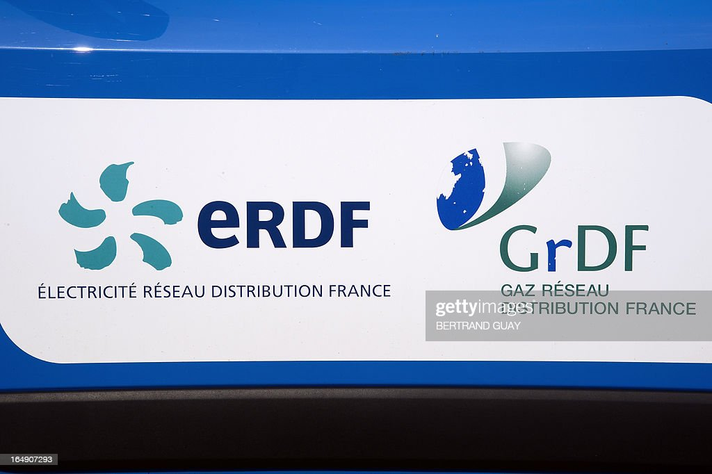 A picture taken on March 29, 2013 shows the logo of ERDF (Electricity Network Distribution France) at the site of ERDF in Saint-Ouen-l'Aumone, near Paris, on March 29, 2013.