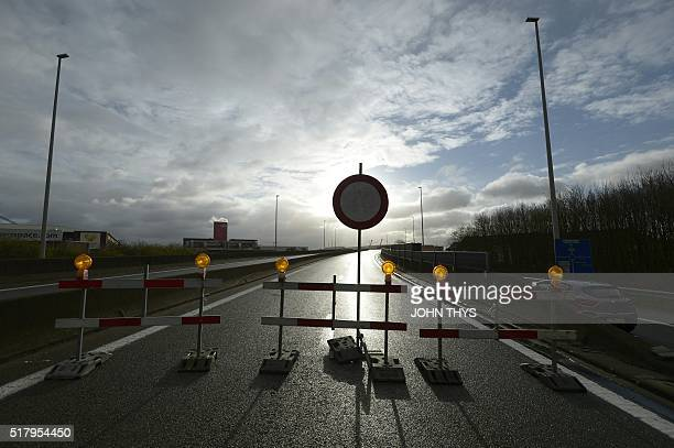 A picture taken on March 29 2016 in Zaventem shows the closed highway leading to Brussels airport one week after Brussels airport bombing THYS