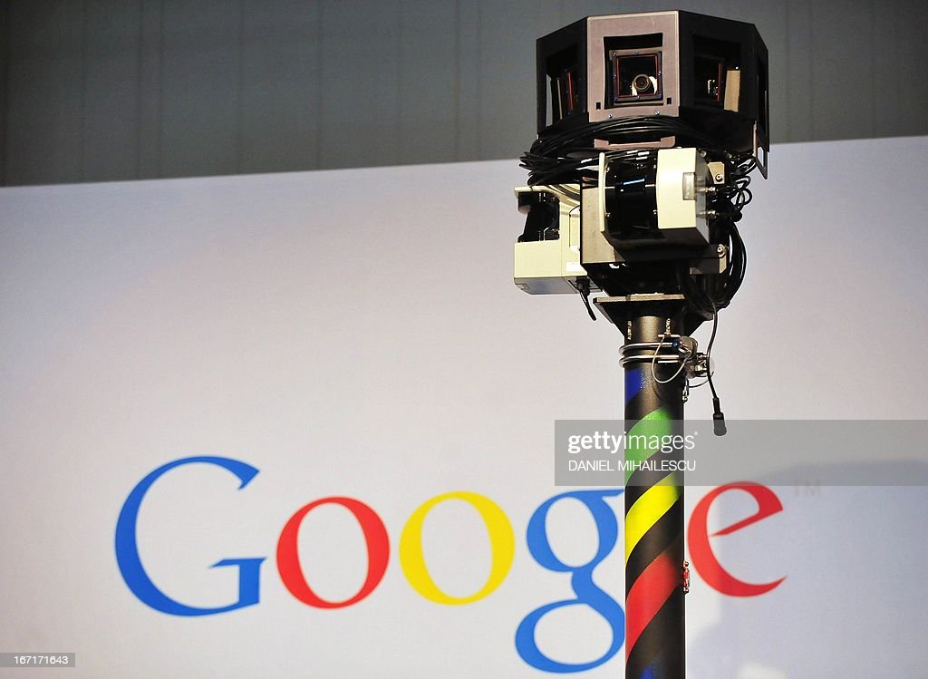 - Picture taken on March 3, 2010 shows the camera of a street-view car, used to photograph whole streets, on the Google street view stand at the world's biggest high-tech fair, the CeBIT in the northern German city of Hanover. German authorities said on April 22, 2013 they had fined Google for illegally collecting massive amounts of personal data including emails, passwords and photos while setting up its disputed Street View service. AFP PHOTO DANIEL MIHAILESCU