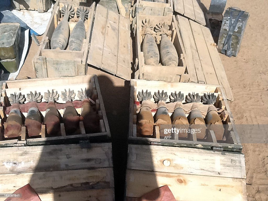 A picture taken on March 3, 2013 in Tessalit area shows munitions recovered by the Chadian army after violent clashes with Islamist militants in the Ifoghas mountains, northern Mali. Chad says its troops in northern Mali have killed Mokhtar Belmokhtar, the one-eyed Islamist leader who masterminded an assault on an Algerian gas plant in January that left 37 foreign hostages dead. The announcement came amid continued fighting in the mountains of northern Mali, where France on Sunday said a third French soldier had been killed since it launched operations against Islamist rebels in mid-January.
