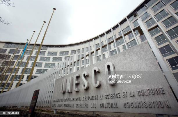 A picture taken on March 30 2010 in Paris shows the facade of the United Nations Educational Scientific and Cultural Organisation headquarters in...
