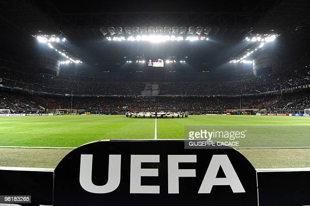 A picture taken on March 31 2010 shows a general view of San Siro stadium prior to the UEFA Champions League football match between Inter Milan and...