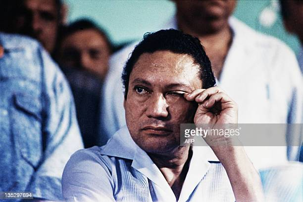 Picture taken on March 7 1988 of Panama's general Manuel Antonio Noriega attending an antiUS meeting in Panama city Former Panamanian dictator Manuel...