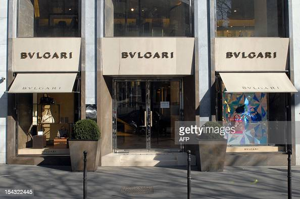 A picture taken on March 7 2011 in Paris shows the shop windows of a store of the Italian toend jeweller Bulgari LVMH the world's leading luxury...