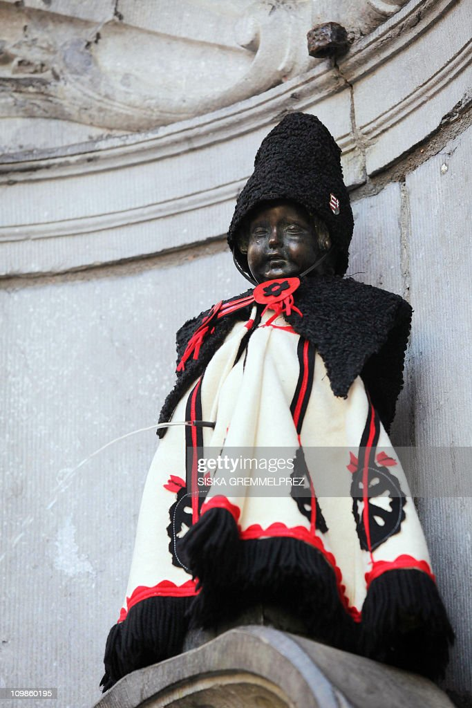 A picture taken on March 7, 2011 shows the statue of the famous 'Manneken Pis', who received a special Hungarian hussar suit to celebrate Hungary's six-month presidency of the European Union.