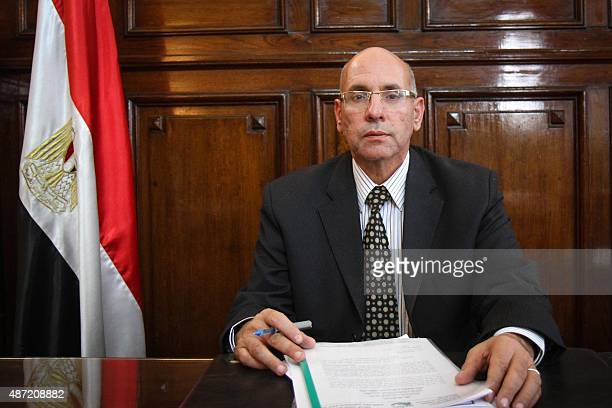 A picture taken on March 8 2015 shows Egypt's agriculture minister Salah Halal posing at his office in Cairo Halal was arrested in Cairo on September...