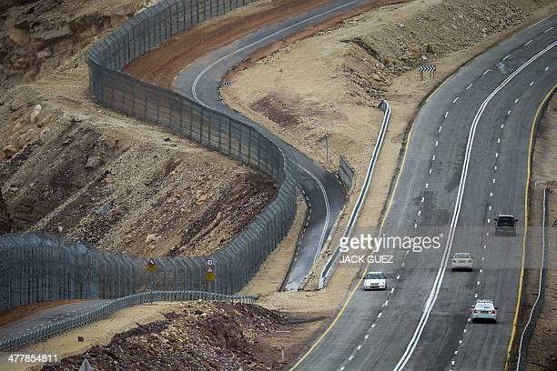 A picture taken on March 9 2014 shows a general view of the fencing along the southern Israeli border with Egypt near the Red Sea resort of Eilat AFP...