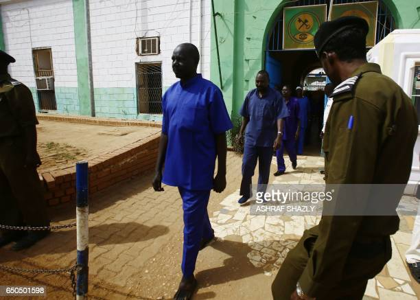 A picture taken on March 9 2017 shows prisoners being released from the Sudanese Cooper prison north of the capital Khartoum Sudanese President Omar...