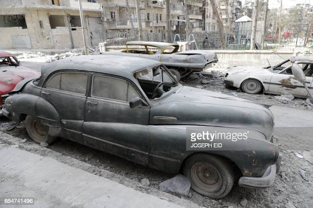 A picture taken on March 9 shows a 1948 Buick parked outside the home of Mohammed Mohiedin Anis or Abu Omar in Aleppo's formerly rebelheld alShaar...