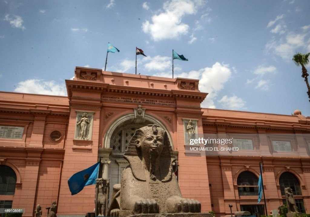 A picture taken on May 10, 2014 shows a Sphinx outside Egyptian Museum in Cairo. Egyptian Minister of Antiquities Mohamed Ibrahim gave a press conference to announce the recovery of Pharaonic artefacts that were recovered after being stolen from Egyptian museums' collections in 2011 and 2013 during the political events in the country.