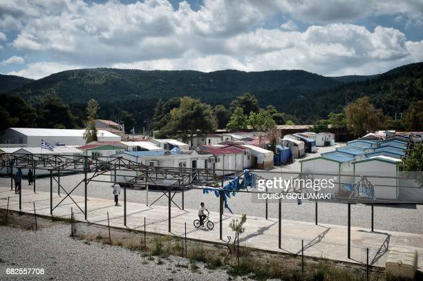 A picture taken on May 11 2017 shows a view of Malakassa refugee camp some 50km north of Athens where around 700 refugees mainly from Afghanistan...