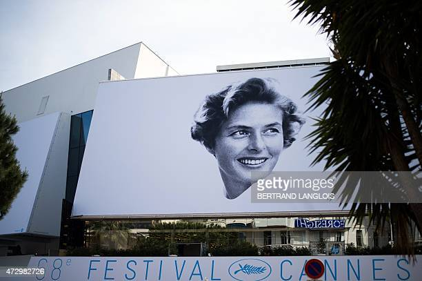 A picture taken on May 11 shows the official poster of the 68th Cannes Film Festival showing the Swedish actress Ingrid Bergman on the Festivals...