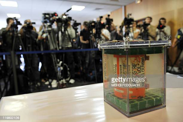 A picture taken on May 12 2011 shows an AF447 RioParis plane flight data recorder displayed during a press conference in the French agency Bureau of...