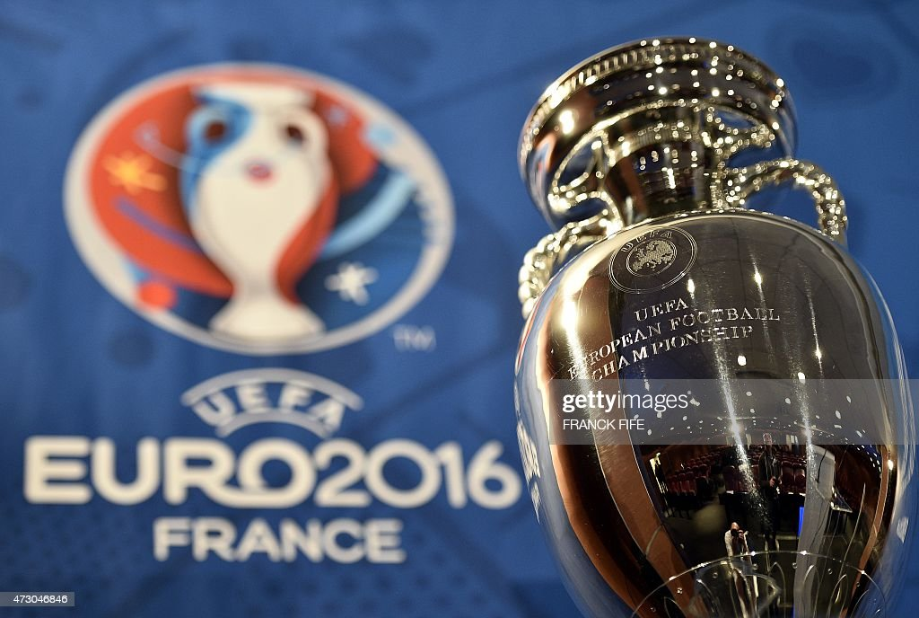 A picture taken on May 12 2015 in Paris shows the Henri Delaunay cup the trophy of the UEFA European Football Championship The Euro 2016 event will...