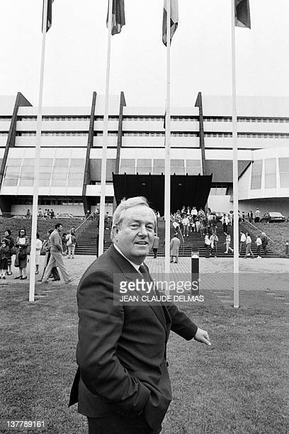 A picture taken on May 13 1984 shows French founder and president of farrighter National Front JeanMarie Le Pen in front of the European Parliament...