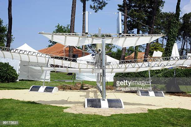 A picture taken on May 13 2010 in Biscarosse southwestern France shows the 'Fabre2010' old aircraft association aluminium replica of French first...