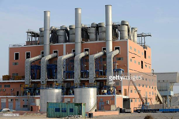 A picture taken on May 13 2013 shows facilities of the factory of the National Moroccan phosphates company in Marca near Laayoune the capial of...
