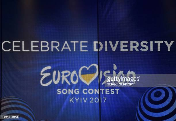 A picture taken on May 13 2017 shows a screen with the Eurovision 2017 logo prior to the 62nd edition of the Eurovision Song Contest 2017 Grand Final...
