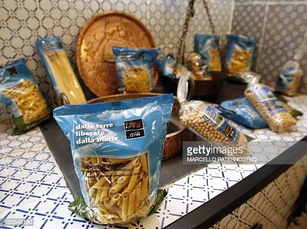 A picture taken on May 14 2010 near Corleone on the Italian island of Sicily shows pasta produced on 'the freed land of the mafia' and sold at the...