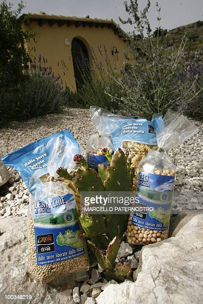A picture taken on May 14 2010 near Corleone on the Italian island of Sicily shows beans and pasta produced on 'the freed land of the mafia' and sold...