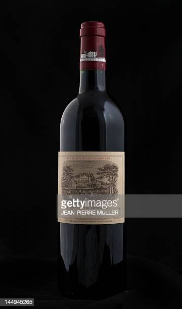 A picture taken on May 14 2012 in Bordeaux southwestern France shows a bottle of French Bordeaux Pauillac 'Grand Cru classe' wine Chateau Lafite...