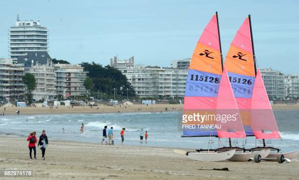 A picture taken on May 14 2017 shows the beach of La Baule / AFP PHOTO / FRED TANNEAU