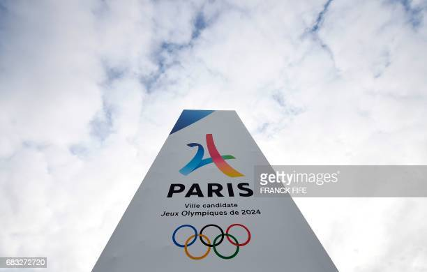 A picture taken on May 15 shows the entrance of the ParisLe Bourget Exhibition venue in Le Bourget as the IOC Evaluation Commission continues with...