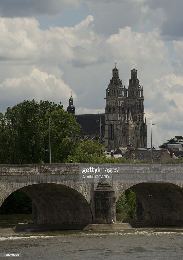 A picture taken on May 17, 2013 from the Loire river banks shows Tours' cathedral. Tours is one of the stages of the 2013 Tour de France cycling race. Running from June 29th to July 21st 2013, the 100th Tour de France will be made up of 21 stages and will cover a total distance of 3,479 kilometres.