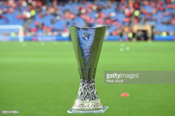 A picture taken on May 18 2016 shows the UEFA Europa League trophy prior to the final football match between Liverpool FC and Sevilla FC at the St...