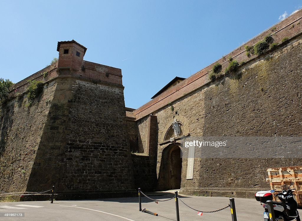 A picture taken on May 18, 25014 in Florence shows the entrance of the Forte Belvedere where the Hip hop star Kanye West and reality TV celebrity Kim Kardashian should organise their wedding party on May 24, 2014. Kanye West and Kim Kardashian are to marry in a chateau near Paris before heading to Florence. Some 1,600 guests have been invited to the Chateau d'Usse, a Renaissance dwelling southwest of Paris, for the May 24 wedding ceremony, Florence newspaper la Nazione reported. From there the celebrity pair and their guests will head to the Italian city, where they have rented the Forte Belvedere -- a 16th-century fortress -- for their wedding party.