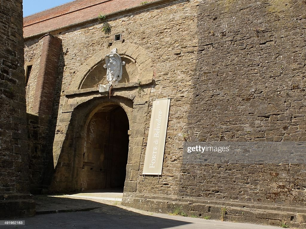 A picture taken on May 18 25014 in Florence shows the entrance of the Forte Belvedere where the Hip hop star Kanye West and reality TV celebrity Kim...