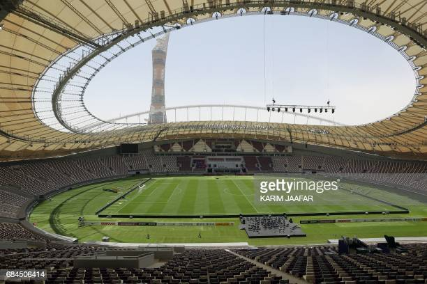 A picture taken on May 18 shows a general view of the Khalifa International Stadium in Doha after it was refurbished ahead of the Qatar 2022 FIFA...