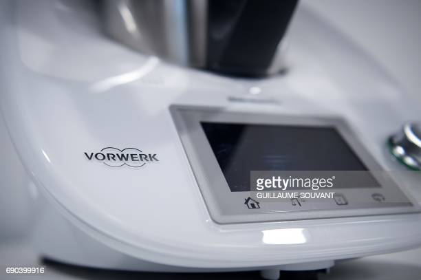 A picture taken on May 19 2017 shows a detail of a Thermomix kitchen foodprocessor at a production plant of German group VorwerkSemco in...