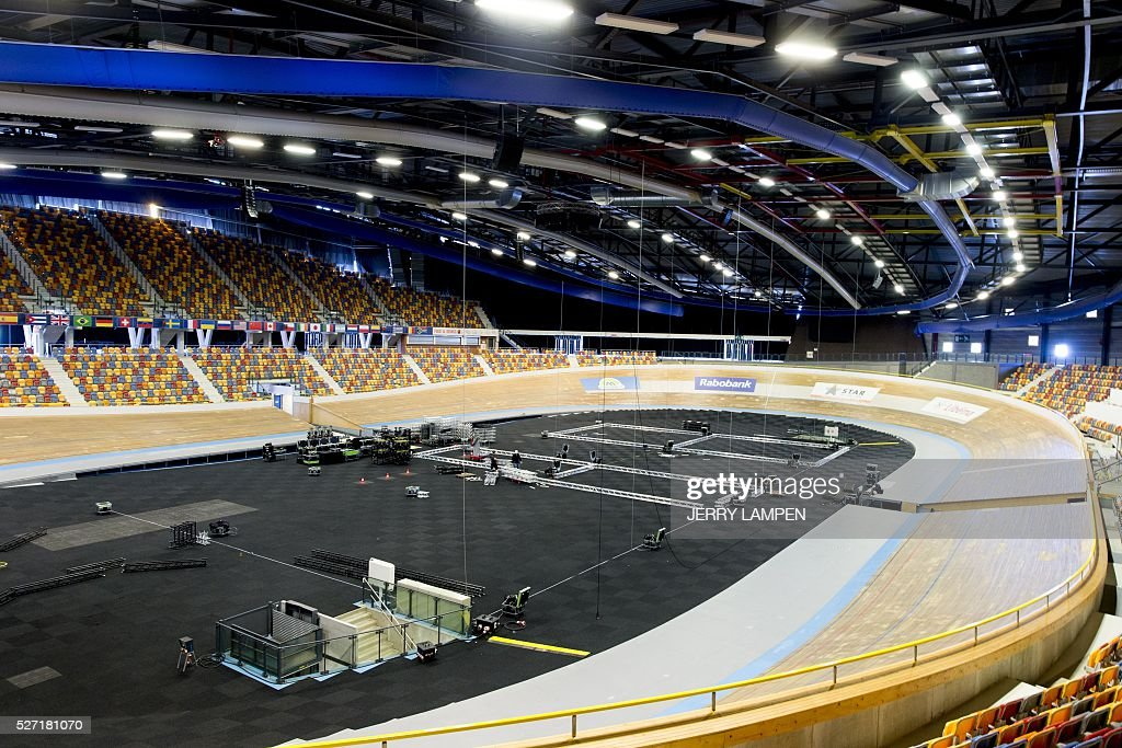 A picture taken on May 2, 2016 shows the Omnisport centre in Apeldoorn being prepared for the start of the Giro d'Italia cyling race. The Giro d'Italia will start in Apeldoorn on May 6, 2016. / AFP / ANP / Jerry Lampen / Netherlands OUT