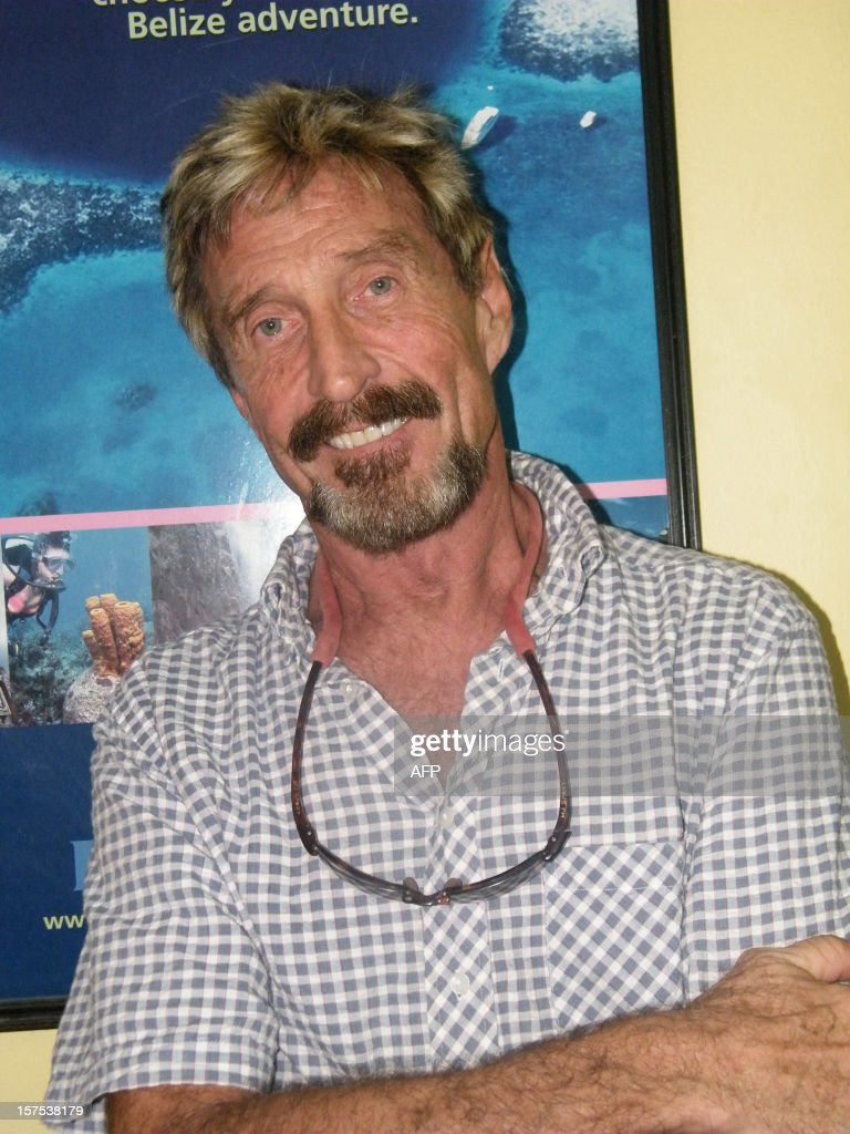 Picture taken on May 2012 in Belize of U.S. <a gi-track='captionPersonalityLinkClicked' href=/galleries/search?phrase=John+McAfee&family=editorial&specificpeople=1353446 ng-click='$event.stopPropagation()'>John McAfee</a>. American anti-virus software pioneer <a gi-track='captionPersonalityLinkClicked' href=/galleries/search?phrase=John+McAfee&family=editorial&specificpeople=1353446 ng-click='$event.stopPropagation()'>John McAfee</a>, wanted for questioning over the murder of his neighbor last month in Belize, claimed on December 4, 2012 to have made it out of the country to Guatemala. AFP PHOTO/THE SAN PEDRO SUN